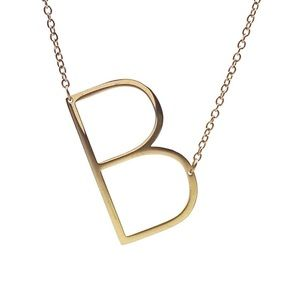 """Savvy Cie Initial B Necklace 1"""" 14k Gold Plated"""